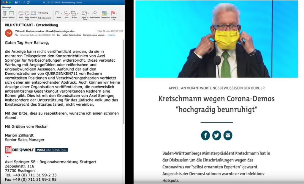 Bildzeitung lehnt Anzeigenschaltung von Querdenken ab