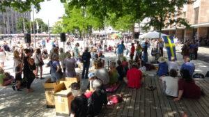 Impressionen von der Demonstration Qeuerdenken-761 Freiburg vom 18.07.2020 Freiburg Platz der alten Synagoge