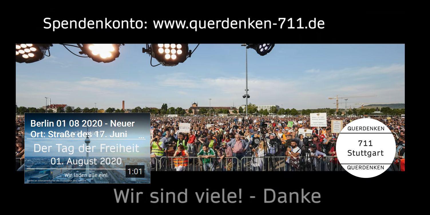 Querdenken-711 Spendenaufruf Grossdemo Berlin